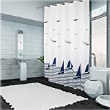 Bathroom Themes Uforme Beach Theme Boat Print Shower Curtain No More Mildews and Waterproof, White and Navy Blue Bathroom Curtain Durable Polyester with Hooks, Standard Size, 72 Inch By 72 Inch