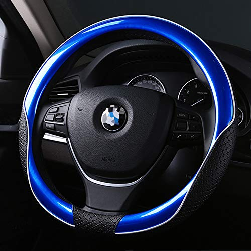 MLOVESIE Car Steering Wheel Cover Odor-Free Breathable Ice Leather Universal Fit 15 inch Better Grip (Blue) (Steering Wheel Covers For Men)
