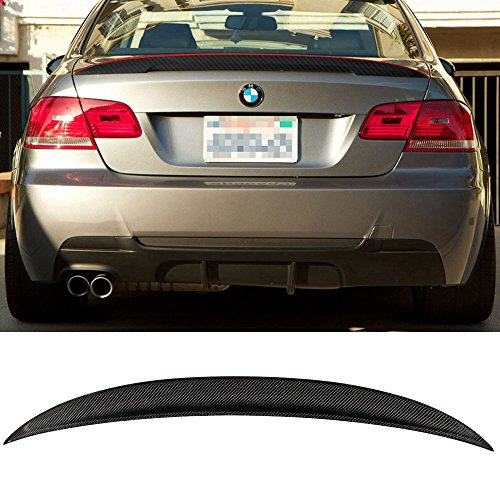 - Trunk Spoiler Fits 2007-2013 BMW 3 Series E92 | P Style High Kick Carbon Fiber Red Line Rear Tail Lip Deck Boot Wing By IKON MOTORSPORTS | 2008 2009 2010 2011 2012