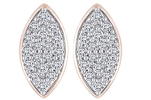 14K Solid Rose Gold Round Cut White Natural Diamond Cluster Marquise Shape Stud Earrings (0.33 cttw) - Marquise Cut Diamond Earrings
