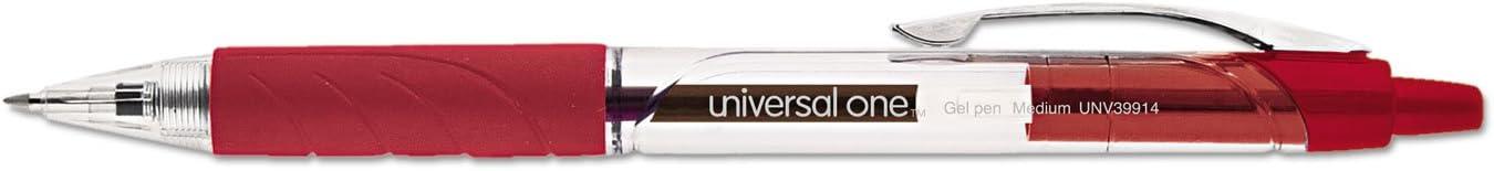 Red Ink Dozen Universal 39914 Clear Roller Ball Retractable Gel Pen Medium