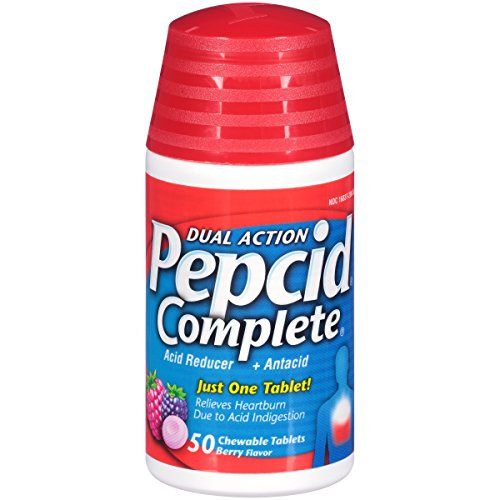 Pepcid Complete Acid Reducer + Antacid Chewable Tablets for Heartburn Relief, Berry Flavor, 50 ct.