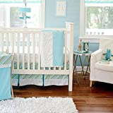 DS 3 Piece Baby Boys Blue White Green Tribal Crib Bedding Set, Newborn Southwest Themed Nursery Bed Set Infant Child Arrows Chevron Cute Adorable Native Blanket Quilt, Polyester
