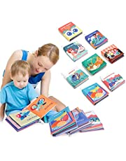 Baby Books, Soft Book for Babies First Year, Cloth Books with Crinkly Sounds, Early Children's Development Touch and Feel Activity Books for 1-3 year old,Set of 8