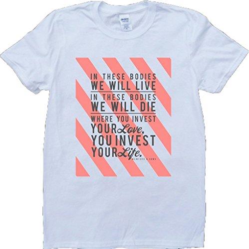Mumford And Sons Awake My Soul Short Sleeve Custom Made T-Shirt - White - Large