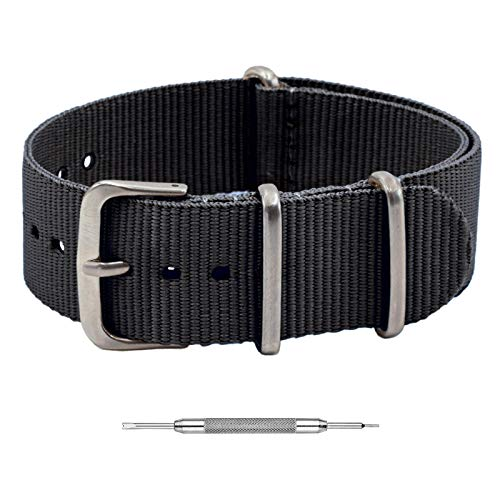 Benchmark Basics NATO Strap - Waterproof Ballistic Nylon Watch Band for Men & Women - Choice of Color & Width - 18mm, 20mm, 22mm or 24mm