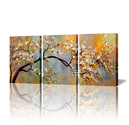 ARTLAND Canvas Wall Art Pictures Decor Ready to Hang Floral Artwork for Walls Home Decorations for Living Room 'Exquisite Yellow Plum' 3 Piece Wall Artwork Framed ()