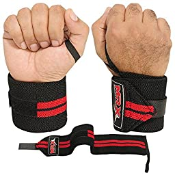 WEIGHTLIFTING TRAINING FITNESS WRIST SUPPORT COTTON WRAPS BANDAGE STRAPS RED 18\