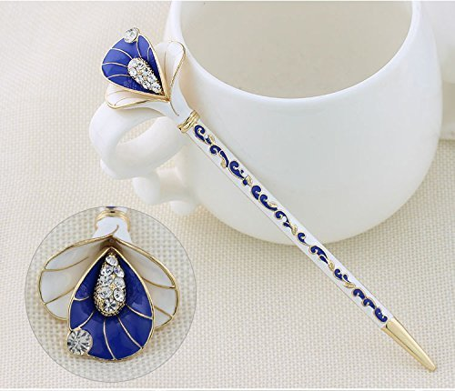Hair Sticks Pins Jewelry (Antique Hair Sticks Reliefs Floral Designs Lotus Crystal Rhinestone Chinese Style Hairpin Fashion Jewelry For Women (Gold))