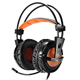 EasySMX PC Gaming Headset, Over-ear Wired Stereo Lightweight Gaming Headset 3.5mm Jack LED Indicator Adjustable Mic and In-line Controller One-key Mute for PC Tablet MP3 MP4 SONY and iPhone 6/7 etc.