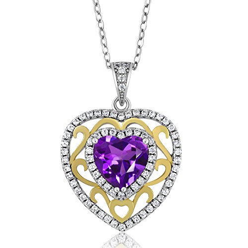 Amethyst Heart Locket (2.28 Ct Heart Shape Purple Amethyst 925 Sterling Silver Pendant)