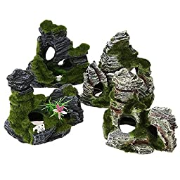 New Aquarium Fish Tank Ornament Rockery Mountain Cave Landscape Underwater Decor (1Set X 4pc )Set38