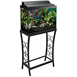 Aquatic Fundamentals 10 Gallon Metal Scroll Aquarium Stand-Black