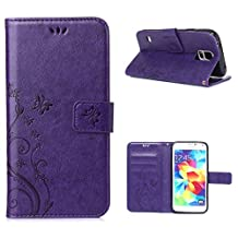 Galaxy S5/Galaxy S5 Neo 5.1inch Elegant Wallet Case, Galaxy S5 Neo Beautiful Case, Flower Butterfly Pattern Premium PU Leather Wallet Case with Wrist Strap Flip Case Cover (purple)