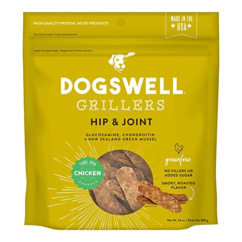 DOGSWELL Hip & Joint Grain Free Dog Treats, 100% Meat Glucosamine Chondroitin & Omega 3, Chicken Grillers 24 - Hips Chicken Dog Happy Treats