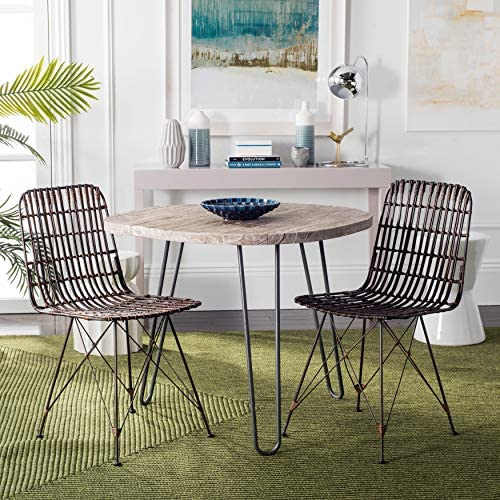Safavieh Home Minerva Brown and Black Wicker Dining Chair