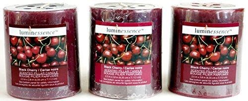 Luminessence(Tm) Black Cherry Scented Pillar Candles, 3 Pillar Candles In Each Pack - - Wonderful Aroma - Long Lasting – Inexpensive - Each Soy Wax Candle Has A Wonderful Black Cherry Scent