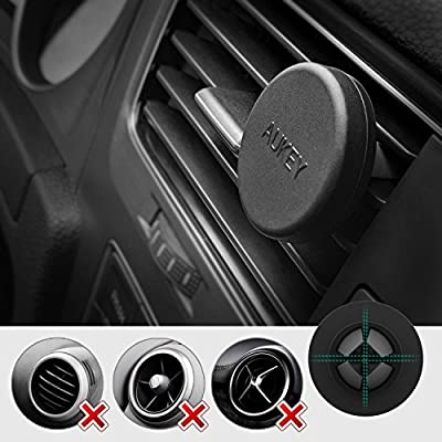 AUKEY Cell Phone Holder for Car [2 Pack], Magnetic Air Vent Phone Mount for iPhone X / 8/8 Plus / 7/7 Plus / 6s Plus, Samsung S8 Note 8 (Black)