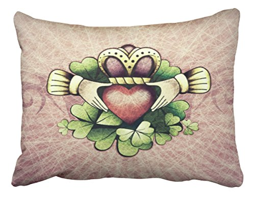 Emvency Pillowcases Xmas Decoration Claddagh Accent Pillow Case Cushion Cover Case Throw Pillow cases Standard 20x26 Inches
