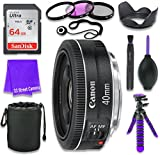 Canon EF 40mm f/2.8 STM Lens for Canon DSLR Cameras & SanDisk 64GB Class 10 Memory Card + Complete Accessory Kit (11 Items)
