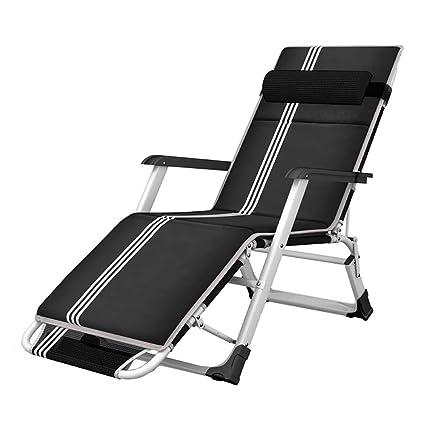 Amazon.com: Silla reclinable negra plegable, silla de playa ...