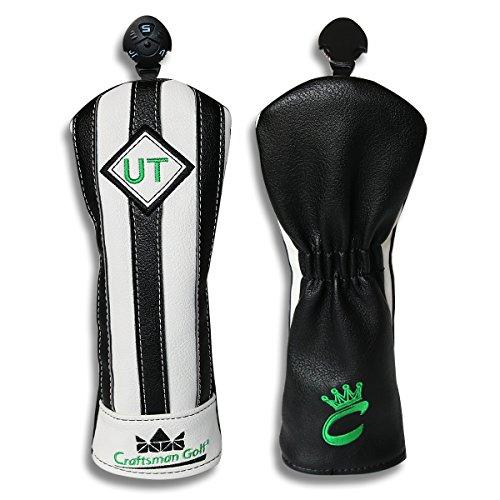 Craftsman Golf Black with White Stripes Series Golf Club Driver Wood UT Hybrid Head Cover Headcover (UT Hybird (Series Hybrid Club)