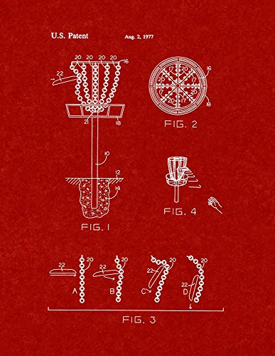 Flying Disc Entrapment Device Patent Print Burgundy Red (24