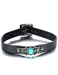 Oidea Mens Womens Antique Adjustable Buckle Leather Choker Collar Necklace,Imitation Turquoise Charm Collar,with Gift Bag
