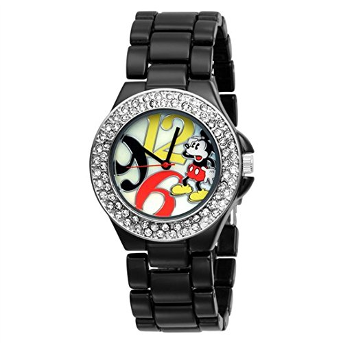 Disney Women's MK2080 Mickey Mouse Mother-of-Pearl Dial Black Enamel Bracelet Watch (Black Enamel Dial)
