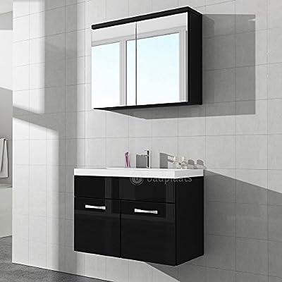mobile da bagno paso 02 80 cm lavabo nero lucido - armadietto a ... - Lucido Cabinet Grigio Lavandino