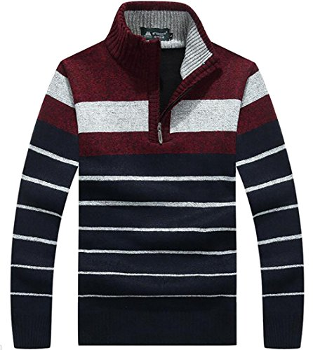 Alion Men's Classic Basic Warm Thickening Stripes Half Zip Knit Sweater Red XL