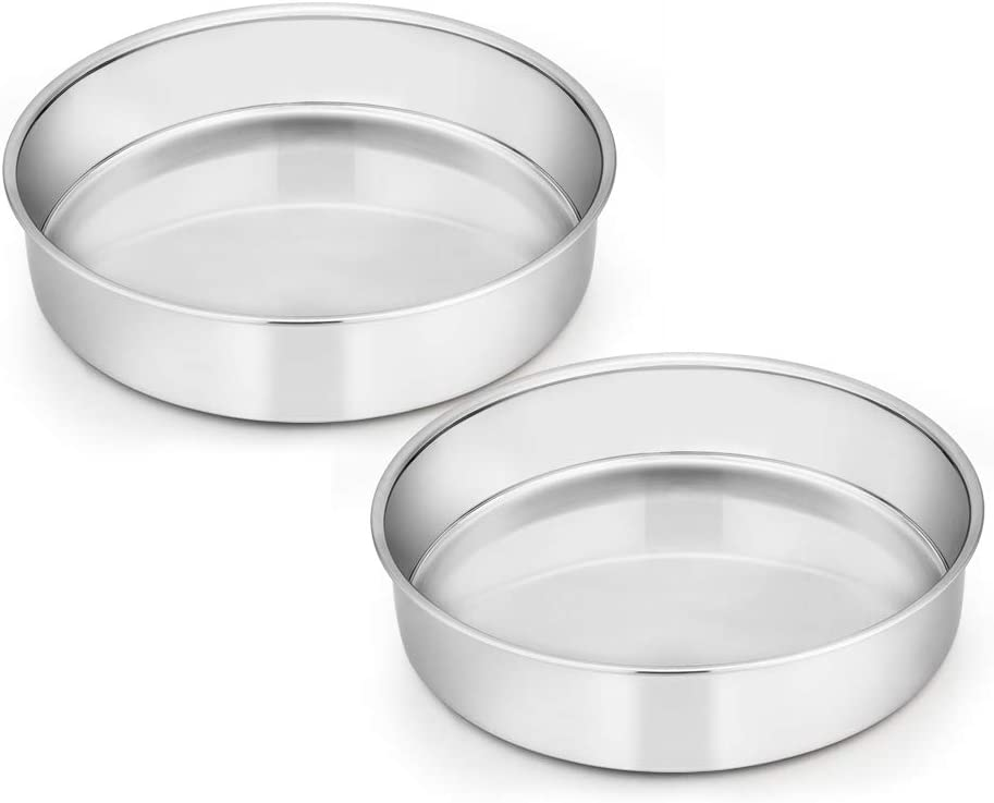 8 Inch Cake Pan Set of 2, E-far Stainless Steel Round Layer Cake Baking Pans, Non-Toxic & Healthy, Mirror Finish & Dishwasher Safe