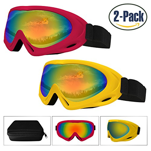 Ski Goggles 2 Pack,Snowboard Goggle for Kids,Boys,Girls,Youth,Men,Women,with UV 400 Protection,Wind Resistance,Anti-Glare Lenses,Anti-Fog Nano-Microfiber Wiper,Stored in Eyewear Case - 80s Eyewear