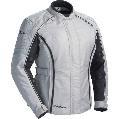 Tour Master Trinity Series 3 Women's Textile Sports Bike Racing Motorcycle Jacket - Silver / Plus Small