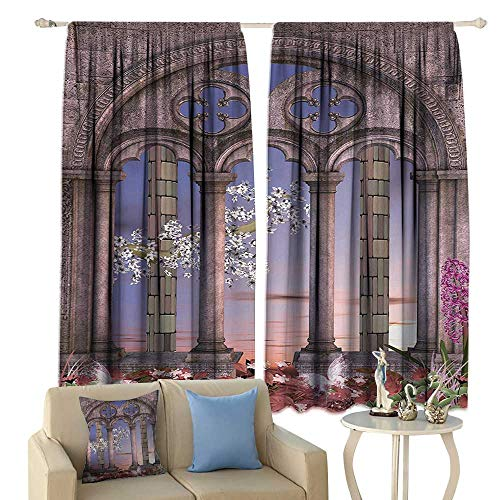 clayee Sliding Curtains Gothic Ancient Colonnade in Secret Garden with Flowers at Sunset Enchanted Forest Darkening and Thermal Insulating Grey Blue Lilac ()