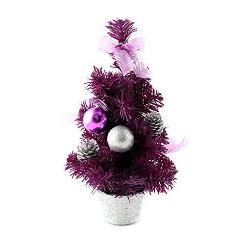 12inch mini desk top table top decorated christmas tree with bows baubles ornaments decorations purple
