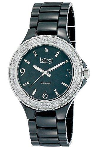Burgi Black Moher of Pearl Dial Black Ceramic Ladies Watch BUR047BK