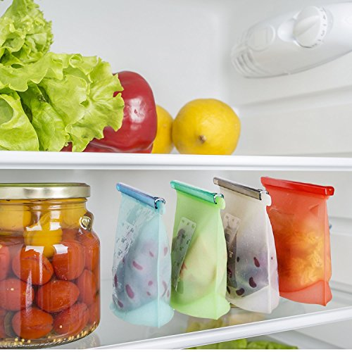 Silicone Reusable Food Storage Bags | Preservation Of Fruits, Vegetables, Meats| Airtight Seal, Leak-proof, Keeps Food Fresh| Freeze, Steam, Boil, Microwave| Versatile Kitchen Utensil (6 Pack)