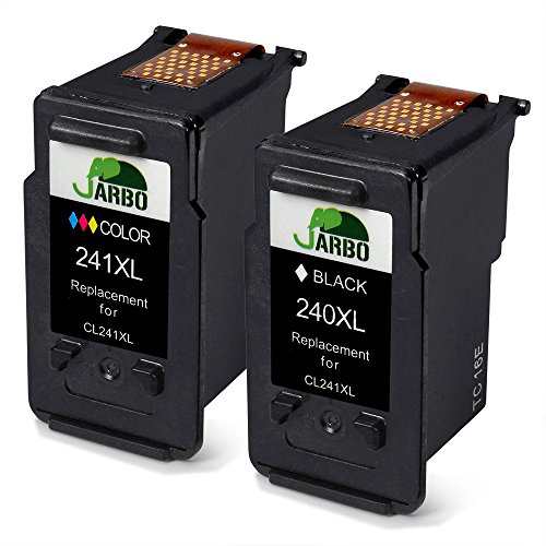 JARBO Remanufactured Ink Cartridge Replacement for PG-240XL CL-241XL 1 Black+1 Tri-Color, Compatible with PIXMA MG3620 MG3520 MG2220 MG3220 MG3522 MX472 MX452 MX522 MX532 MX392 MX432 MX512