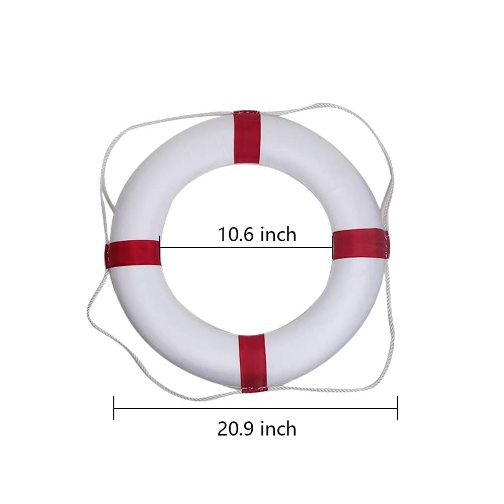 Swim Foam Ring Buoy Swimming Pool Safety Life Preserver with Perimeter Rope Cover Kid Child Adult