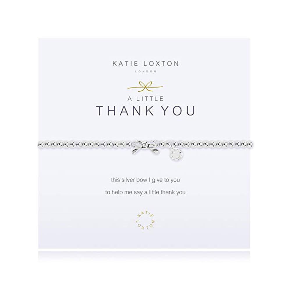 Katie Loxton A Little Thank You Bow Silver Women's Stretch Adjustable Charm Bangle Bracelet by Katie Loxton