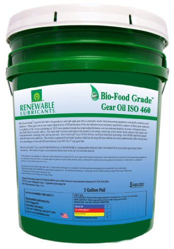 Renewable Lubricants Bio-Food Grade ISO 460 Gear Oil, 5 Gallon Pail by Renewable Lubricants