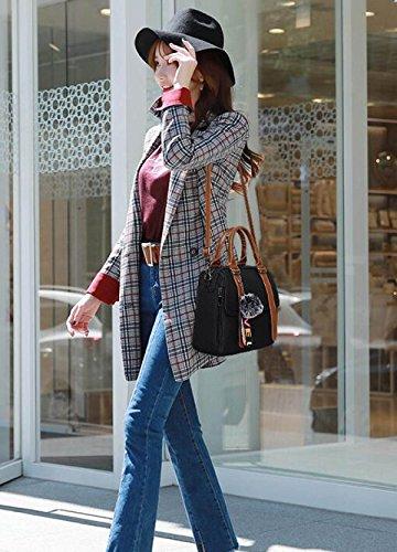 Portable Sac Sacoche Dames épaule Womens Rétro Main Bureau à à De Sac PU Bandoulière Sac Cuir Poignée Black Supérieure WAxnq6R