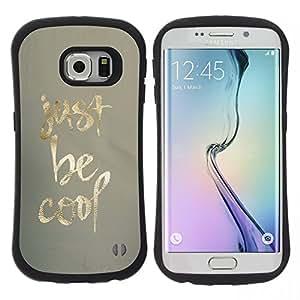 """Hypernova Slim Fit Dual Barniz Protector Caso Case Funda Para Samsung Galaxy S6 EDGE [Be Cool Patrón minimalista Sólo Tela de Oro""""]"""