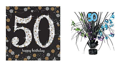 (Set of 16 Sparkling Celebration 50th Beverage Napkins and The Party Continues 50th Birthday Green and Blue Spray Centerpiece )