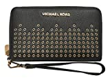 Michael Kors Hayes Large Flat Multifunction Phone Case Leather Wallet Black