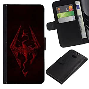 All Phone Most Case / Oferta Especial Cáscara Funda de cuero Monedero Cubierta de proteccion Caso / Wallet Case for HTC One M8 // Skyrim Dragon