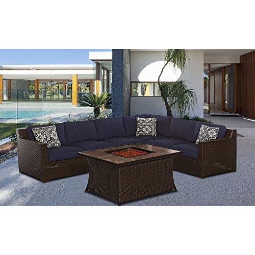 Living Accents Metropolitan Patio Furniture: Hanover METRO6PCFP-NVY-B Metropolitan Fire Pit Set (6