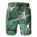 confirm vt Banana Leaves Men's/Boys Casual Swim Trunks Short Elastic Waist Beach Pants with Pockets