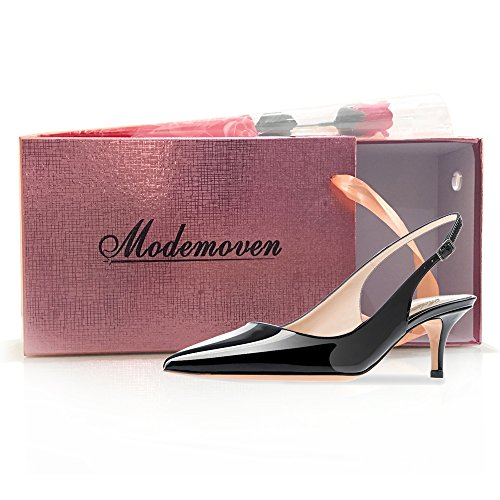 Modemoven Women's Black Patent Leather Pointed Toe Slingback Ankle Strap Kitten Heels Pumps Evening Stiletto Shoes - 7 M US by Modemoven (Image #7)